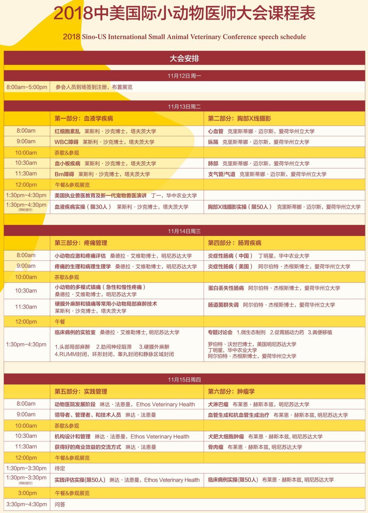 """018中美国际小动物医师大会暨展览会(SSAVC)课程表公布"""""""