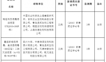 中华人民共和国农业农村部公告 第73号 3种新兽药获批
