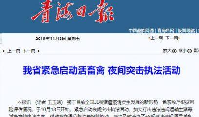 青海省紧急启动活畜禽 夜间突击执法活动
