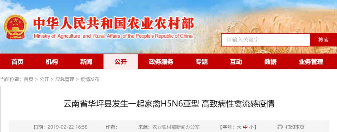 云南省发生一起家禽H5N6亚型疫情,已扑杀家禽55917羽